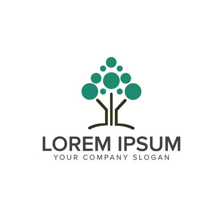 Modern tree logo design concept template