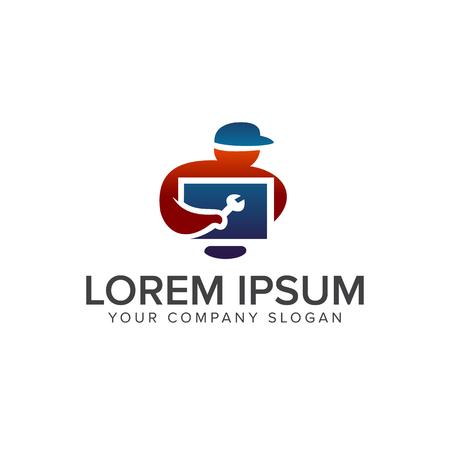Eectrical services logo design concept template Illustration