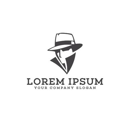 Detektiv Cowboy Logo Design Konzept Vorlage