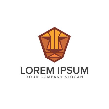 tiger or lion face emblem logo design concept template