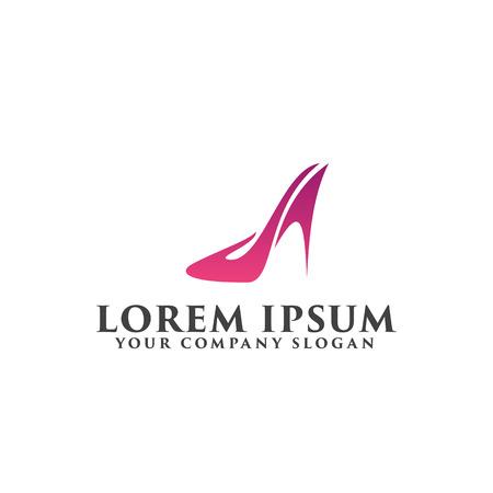 靴女性ロゴ デザイン コンセプト テンプレート