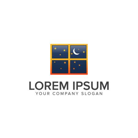 Modello di progettazione del logo della finestra del logo di notte Archivio Fotografico - 83615419