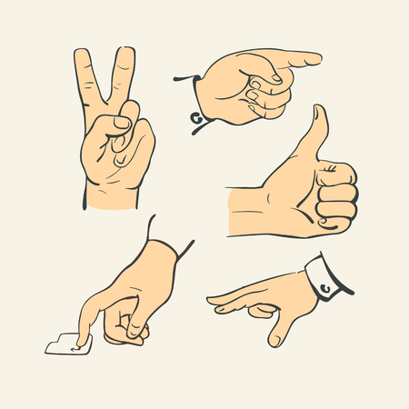 hand finger action in retro retro style illustration vector