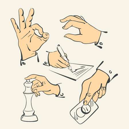 hand finger action in retro retro style illustration vector