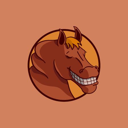 馬イラスト ベクター デザインを笑顔します。