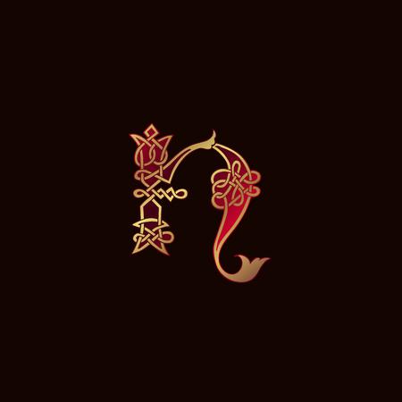 luxury letter N Decoration Logo design concept template