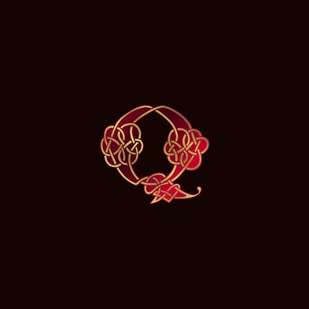 luxe letter Q decoratie Logo ontwerpsjabloon concept Stock Illustratie