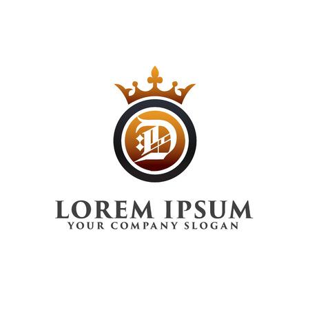luxe letter D decoratie met Crown Logo ontwerpsjabloon concept