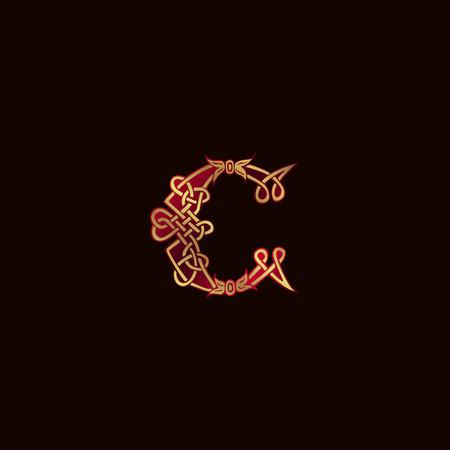 luxury letter C Decoration Logo design concept template Illustration