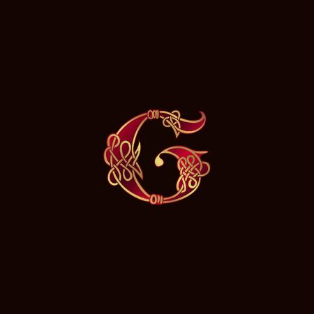 럭셔리 편지 G 장식 로고 디자인 컨셉 템플릿
