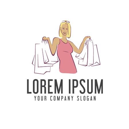 woman shopping bag logo design concept template