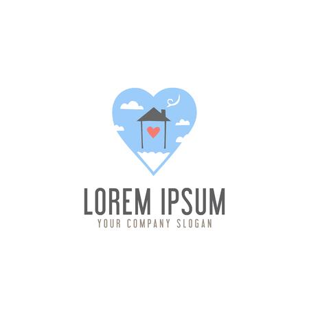 hou van huizen zoet in wolk logo ontwerpsjabloon concept Stock Illustratie