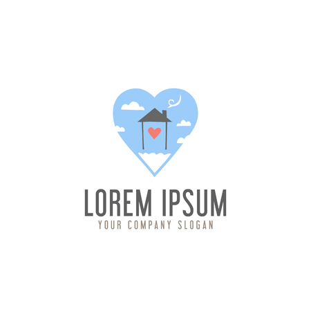 love homes sweet in cloud logo design concept template