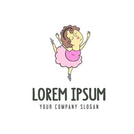 cute ballet woman dancing logo. design concept template