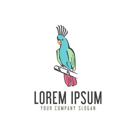 papegaai vogel logo. hand getrokken ontwerpsjabloon concept