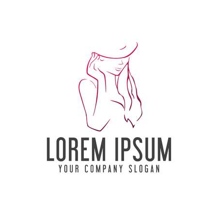 Beauty Woman With Hat Logo Hand Drawn Design Concept Template Stock Vector