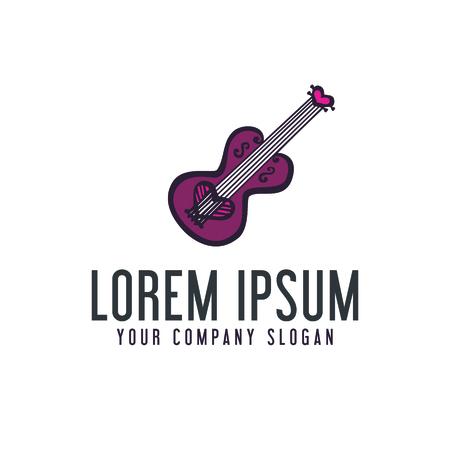 ギターのロゴが大好きです。手描き下ろしデザイン コンセプト テンプレート