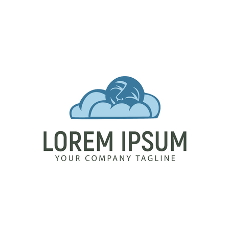 cloud and moon logo design concept template Illustration