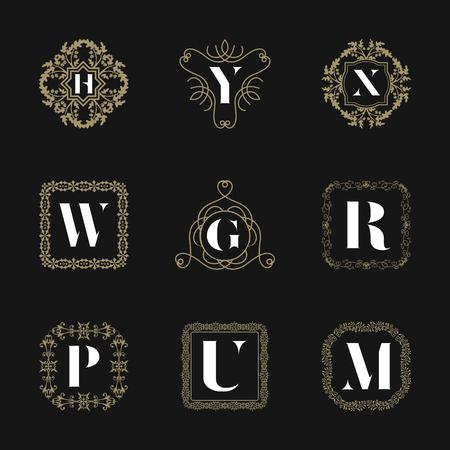 Monogram emblem insignes set. Kalligrafisch logo ornament vector ontwerp. Decoratief kader voor Restaurant Menu, Hotel, Sieraden, Mode, Etiket, Teken, Banner, Badge Stock Illustratie