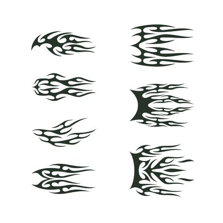 set da collezione tribale tatto. Totem di tatoo della fiamma progettazione dell'illustrazione di vettore Vettoriali