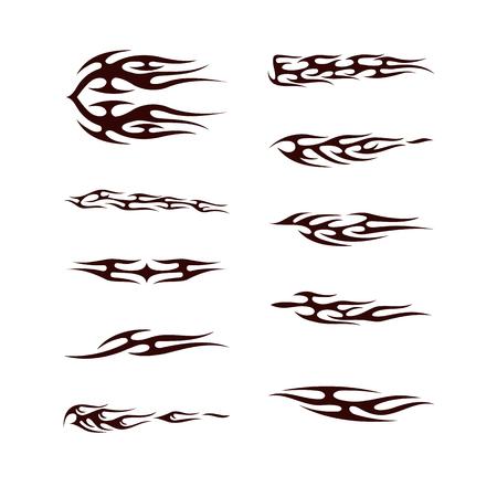 부족 문신 컬렉션 집합입니다. 불꽃 문신 토템 벡터 일러스트 디자인