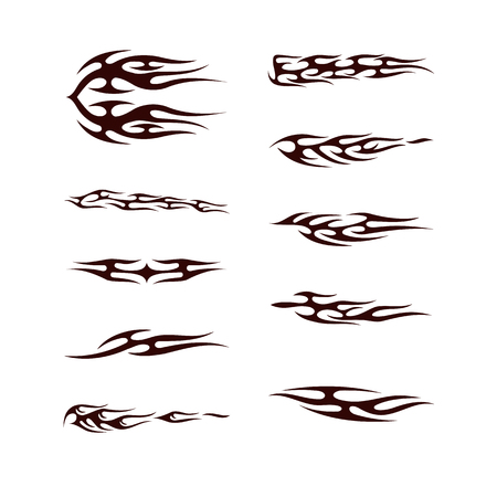 tribal tatto collection set . flame tatoo totem Vector Illustration design
