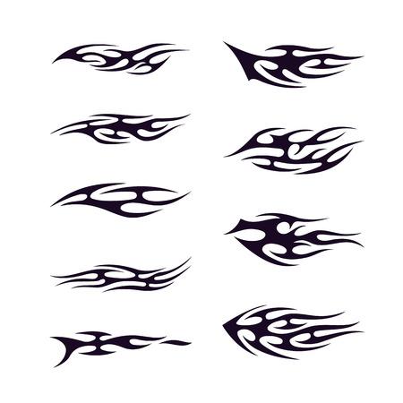 ensemble de collection de tatouage tribal. Flamme tatoo totem Vector Illustration design