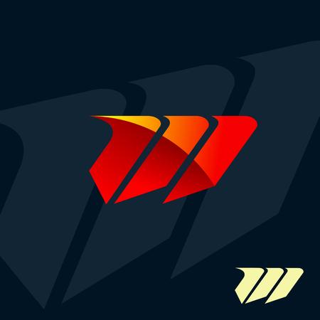 現代文字 M のロゴ。速度の高速のデザイン コンセプトのテンプレート  イラスト・ベクター素材