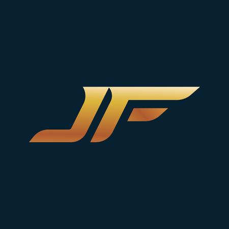 letter JF Logo. speed design concept template