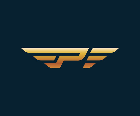 letter P wing logo design concept template