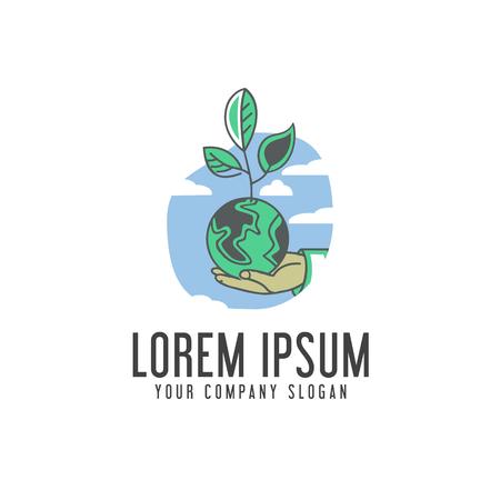 Guardar El Logo De La Tierra. Plantilla De Concepto De Diseño De ...