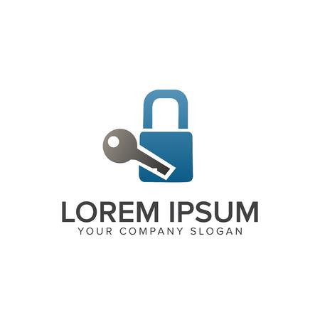 Keys and padlock logo design concept template Illustration