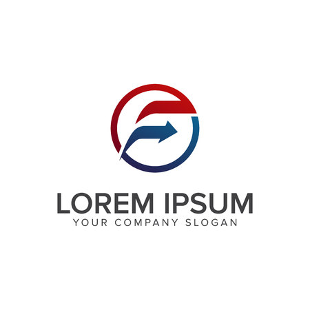 Letter F arrow Logo design concept template