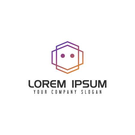 Modern Robot Logo design concept template Çizim