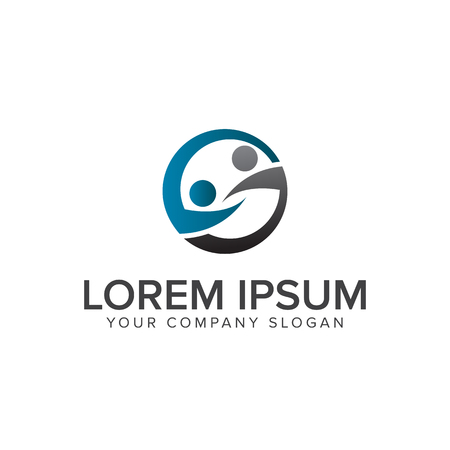 People network partners logo design concept template 일러스트