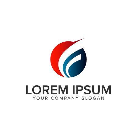 Letter F circle logo design concept template