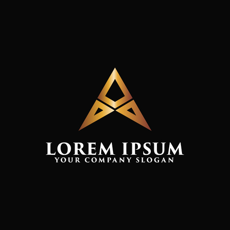 Luxury letter A metal Logo design concept template