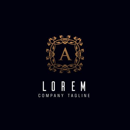 Letter A monogram logo design concept template