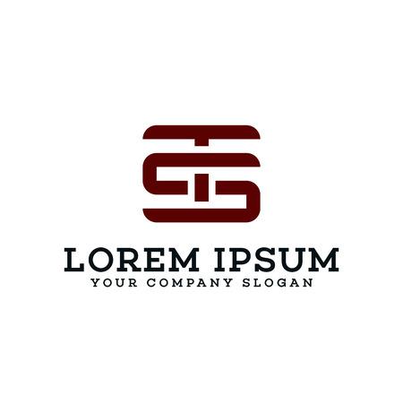 letter TS Logo. retro design concept template