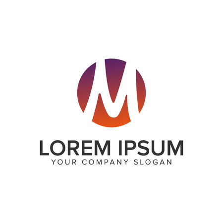 Letter M circle Logo design concept template