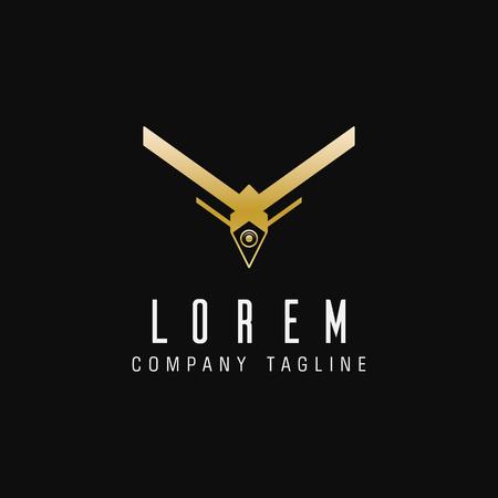 luxury drone technology logo design concept template Ilustracja