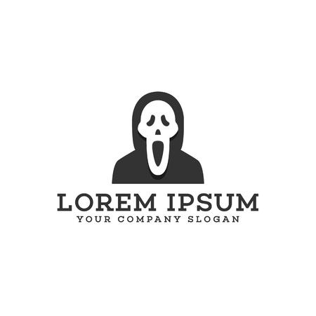 Scream mask logo design concept template Illustration
