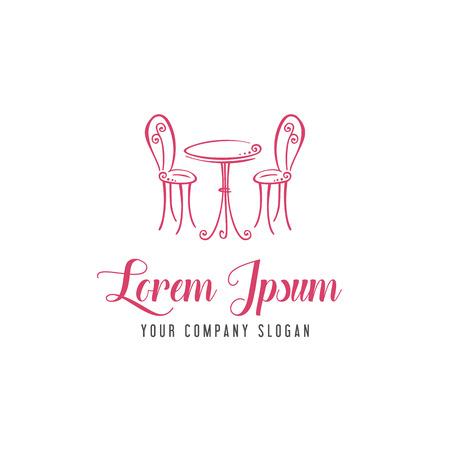 ロマンチックな椅子とテーブルのロゴ、ロマンチックなカフェ デザイン コンセプト テンプレート