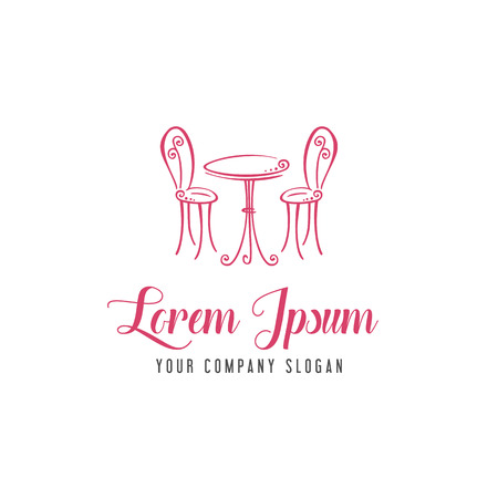 Romantic chair and table logo, romantic cafe  design concept template Vectores
