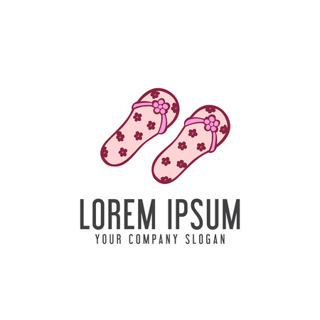 Slippers woman logo, vacation design concept template Illustration