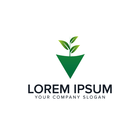Natural Leaf Logo. Gardening Design Concept Template Vector