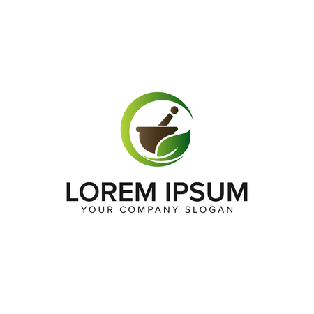 medicine pharmacy herbal logo design concept template Çizim