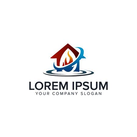 Hauspflege-Logo. Feuer-Wasser-Design-Konzept-Vorlage Standard-Bild - 85116460