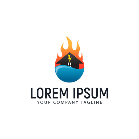 house care logo. fire water design concept template