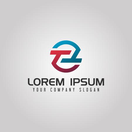 letter T logo. circle design concept template